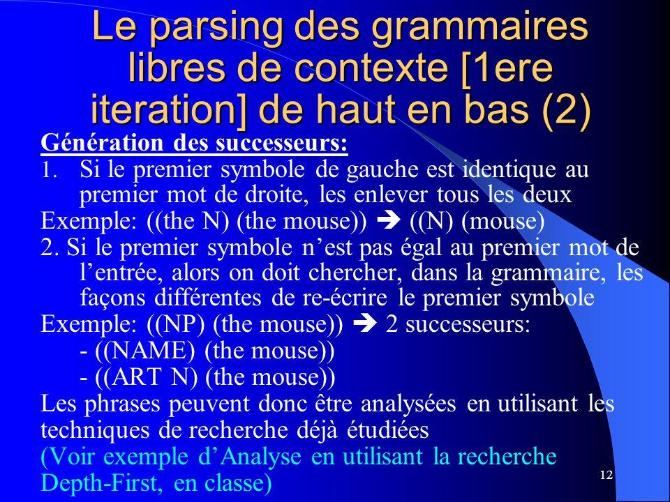 Le parsing des grammaires libres de contexte [1ere iteration] de haut en bas (2)